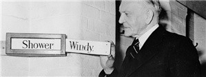 George Rance adjusts the weather indicator boards
