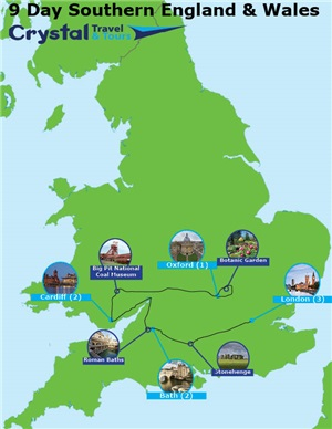 Map Of Southern England And Wales.Southern England London Wales 9 Day Self Drive