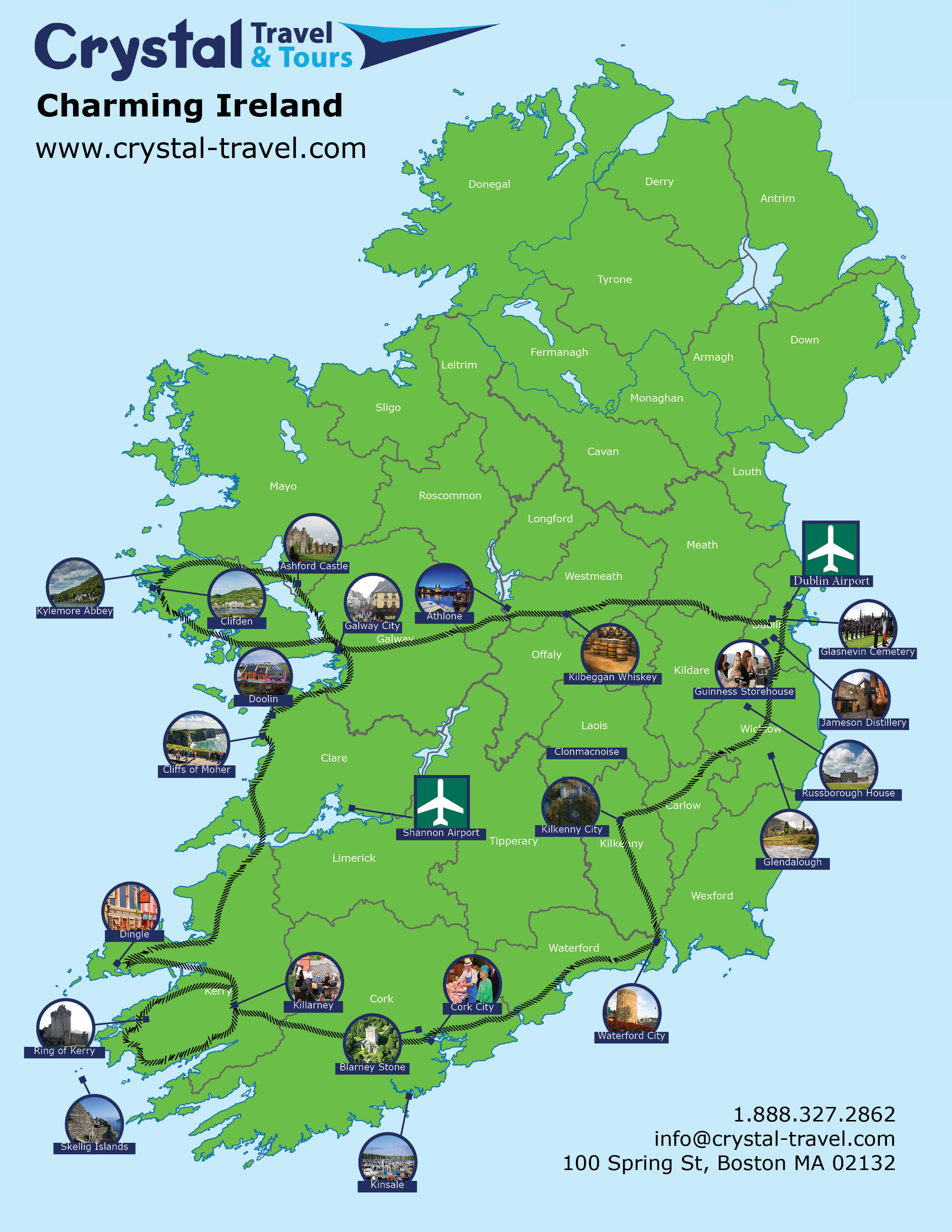Map Of Dublin 6 Ireland.7 Day Charming Ireland Self Drive
