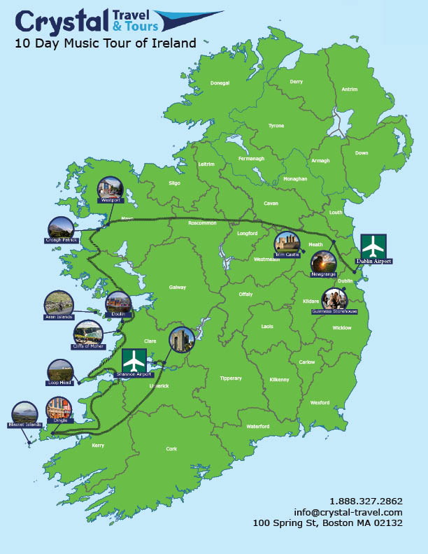10 Day Music Tour of Ireland Driving Maps Of Ireland on