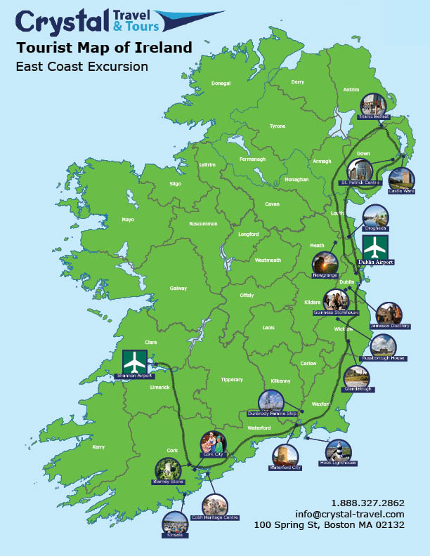 Map Of East Coast Of Ireland.East Coast Excursion Belfast To Cork